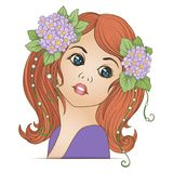 A young beautiful girl with a flower wreath on his head. Stock Image
