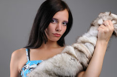 Young beautiful girl and fox fur Royalty Free Stock Image