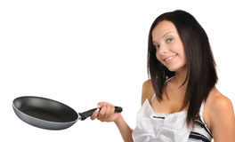 Young beautiful girl with a frying pan isolated Stock Image