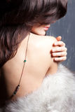 Young beautiful girl in a fur collar Royalty Free Stock Photo