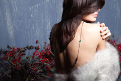 Young beautiful girl in a fur collar Royalty Free Stock Images