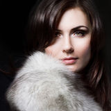 Young beautiful girl in a fur collar Royalty Free Stock Photos