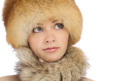 Young beautiful girl in fur hat Royalty Free Stock Images
