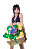 The young beautiful girl with a gift box Stock Image