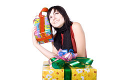 The young beautiful girl with a gift box Royalty Free Stock Photo