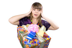 The young beautiful girl with a gift box Stock Photos