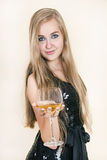 Young beautiful girl with a glass of wine Royalty Free Stock Image