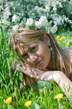 Young beautiful girl  in grass field Stock Photography