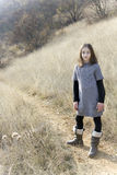 Young beautiful girl with a gray sweater Royalty Free Stock Images