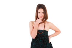 Young beautiful girl in green dress. Picture of a young beautiful girl in green dress Royalty Free Stock Photography