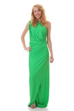 Young beautiful girl in green dress Stock Images