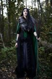 Young beautiful girl in green raincoat, looks as witch on Halloween in forest Stock Images