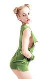 Young beautiful girl in green shirt Stock Image