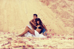 Young beautiful girl and guy  in love outdoors Stock Photography