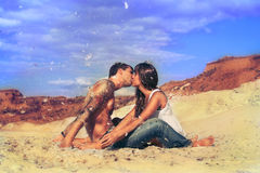 Young beautiful girl and guy  in love outdoors Royalty Free Stock Images