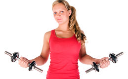 Young beautiful girl at the gym Stock Images