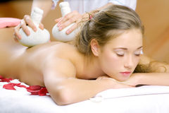 The young beautiful girl has a massage session Stock Photography