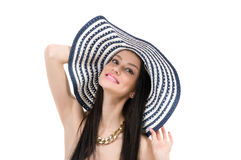 Young beautiful girl in a hat Stock Photos