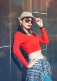 Young beautiful girl in hat and sunglasses enjoy sunlight Royalty Free Stock Photo