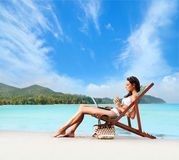 Young and beautiful girl have a seasonal winter vacation on the Royalty Free Stock Photography