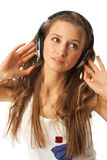 The young beautiful girl with headphones Stock Image