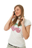 The young beautiful girl with headphones Stock Photography