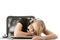 Young beautiful  girl in headset Royalty Free Stock Photo