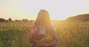 Young beautiful girl holding basket of organic fresh grapes and eating grapes. Rustic style, natural landscape golden hour stock footage