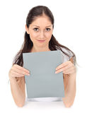 Young beautiful girl holding blank gray card Stock Photography