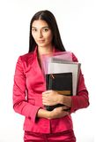 Young beautiful girl holding files Royalty Free Stock Images