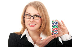 Young beautiful girl holding poker chips Royalty Free Stock Photo