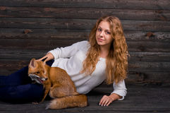 A young beautiful girl holding a wild fox animal that was traumatized by a man and rescued by her and now lives as before Royalty Free Stock Photo