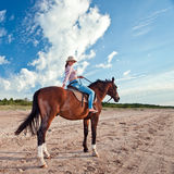 Young  beautiful girl with horse Stock Photography