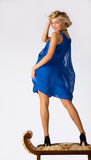 Young Beautiful Girl In Blue Dress Royalty Free Stock Image