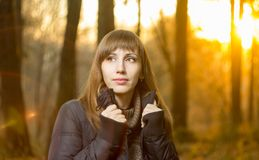 Free Young Beautiful Girl In Evening Autumn Forest Royalty Free Stock Images - 47229489