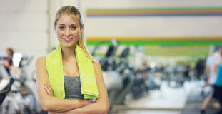 Free Young Beautiful Girl In The Gym, Stands Smiling With A Towel On Her Shoulder After The Coaching And Relaxed. Concept: To Love Spor Stock Photos - 94533913
