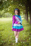 Young beautiful girl in irish dance dress posing outdoor Stock Images