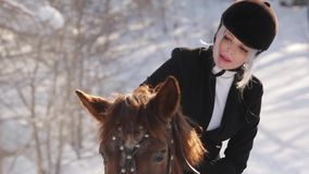 Young beautiful girl jockey and horse in winter forest stock video footage