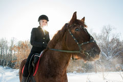Young beautiful girl jockey riding a horse in winter forest Stock Photo