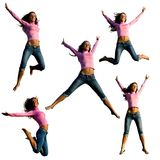 Young beautiful girl jumping. Stock Photos