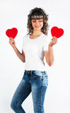 Young beautiful girl keeps the heart Stock Photos