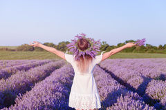 Young beautiful girl in lavender field. Young, happy, beautiful girl in lavender field with Stock Photography