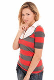 Young beautiful girl like fashion model isolated royalty free stock image