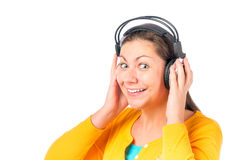 Young beautiful girl listening to music Stock Photos