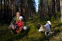 The young beautiful girl with the little daughter picking  bilberry Royalty Free Stock Photography