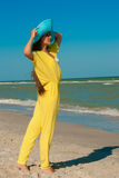 Young beautiful girl with long hair  at the beach Royalty Free Stock Images