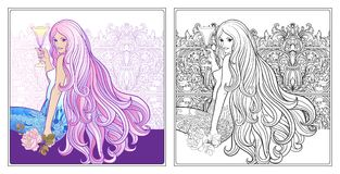 Young beautiful girl with long hair with glass of wine.. Stock line vector illustration. Colouring page for adult coloring book with sample Royalty Free Stock Photo