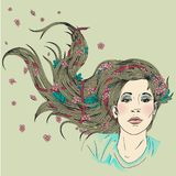 Young beautiful girl with long hair. Hair care vector stock illustration