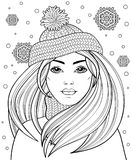 Young beautiful girl with long hair in knitted hat. Tattoo or adult antistress. Coloring page. Black and white hand drawn doodle for coloring book. Vector Royalty Free Stock Photo