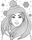 Young beautiful girl with long hair in knitted hat. Tattoo or adult antistress coloring page. Black and white hand drawn doodle fo. R coloring book. Vector Stock Images